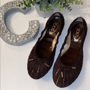TODS Brown & Gold Leather Suede Ballet Flats